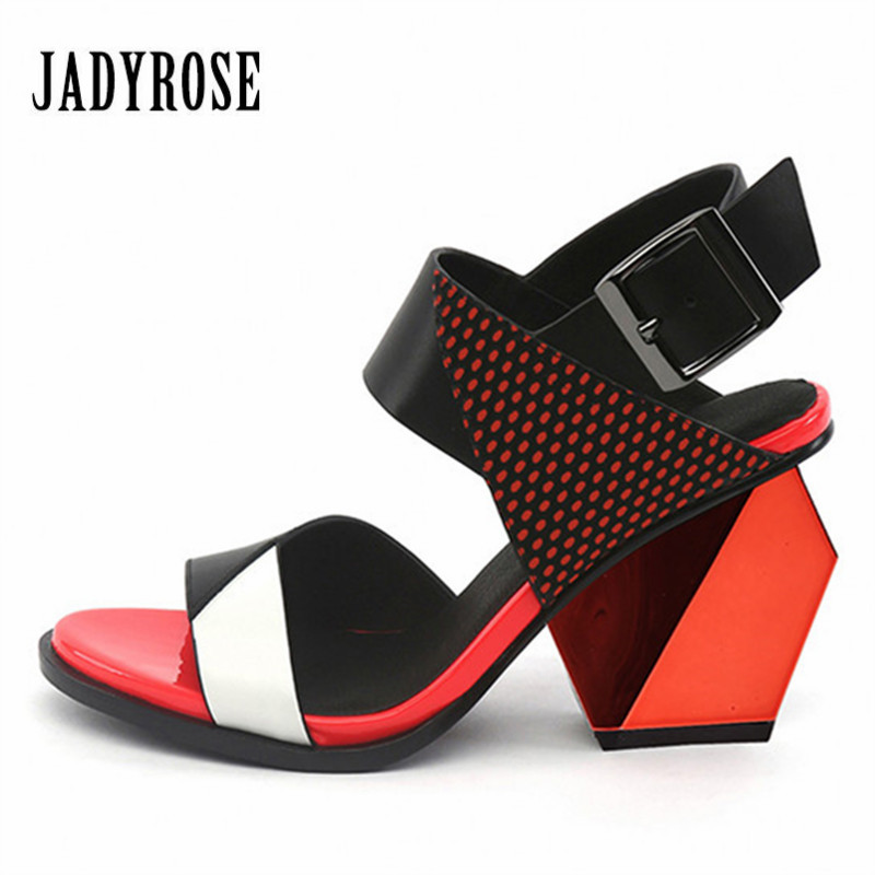 Jady Rose Fashion Red Women Shoes Summer Buckle Gladiator Sandals Strange High Heels Shoes Woman Leather Wedge Peep Toe Pumps jady rose 2018 fashion women shoes genuine leather gladiator summer sandals high heels sexy wedding shoes woman open toe pumps