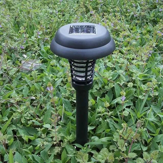 Solar Powered UV LED Light Anti Mosquito Pest Bug Insect Killer Outdoor Yard Garden Lawn Lamp white+ UV violet