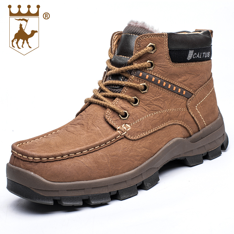 BACKCAMEL Mens Shoes Winter Keep Warm Cotton Hot Sale Genuine Leather High Quality Plus Velvet Outdoor Shoes Size 38-44