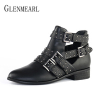 Fashion Women Shoes Winter Ankle Boots Brand Black Flat Heel Shoes Autumn Buckle Strap Round Toe