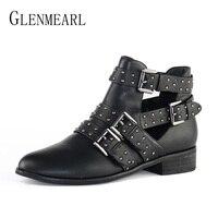Mode Frauen Schuhe Winter Stiefeletten Marke Schwarze Flache Ferseschuhe herbst Schnalle Runde Kappe Kurze Stiefel Frau Plus Größe CE