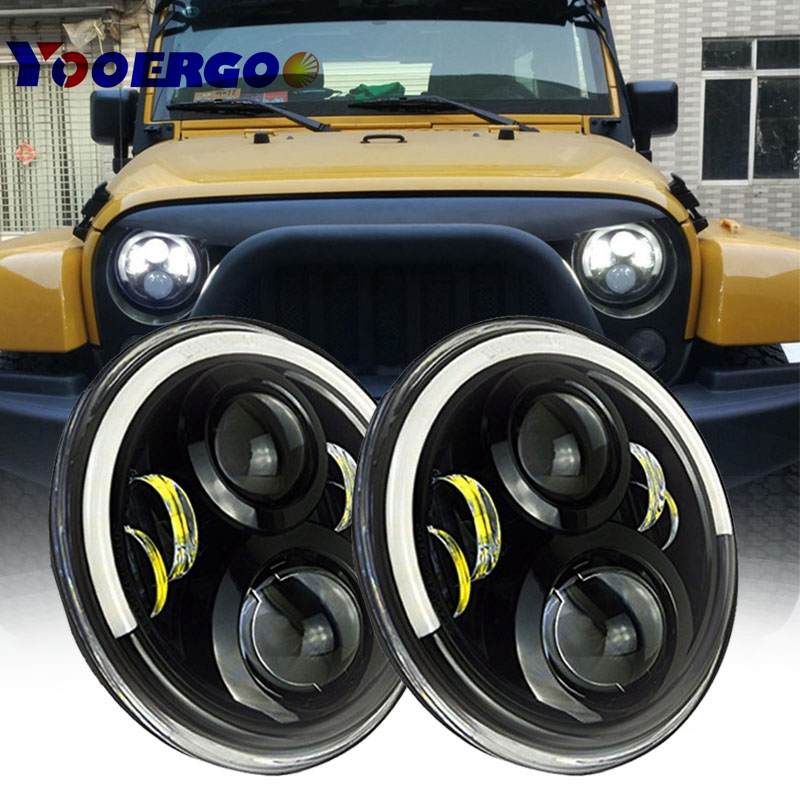 YOOERGOO 60W 7inch Round Led Headlight DRL Running Lights With Halo Angel Eye Hi/Low Beam For Jeep Wrangler JK
