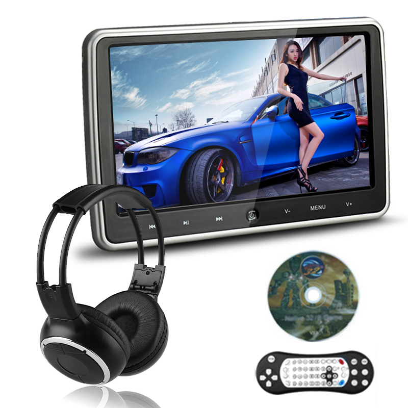 10.11024X600 Car Headrest Monitor DVD Player USB/SD/HDMI/IR/FM TFT LCD Screen Touch Button 32Bit Game Remote Control