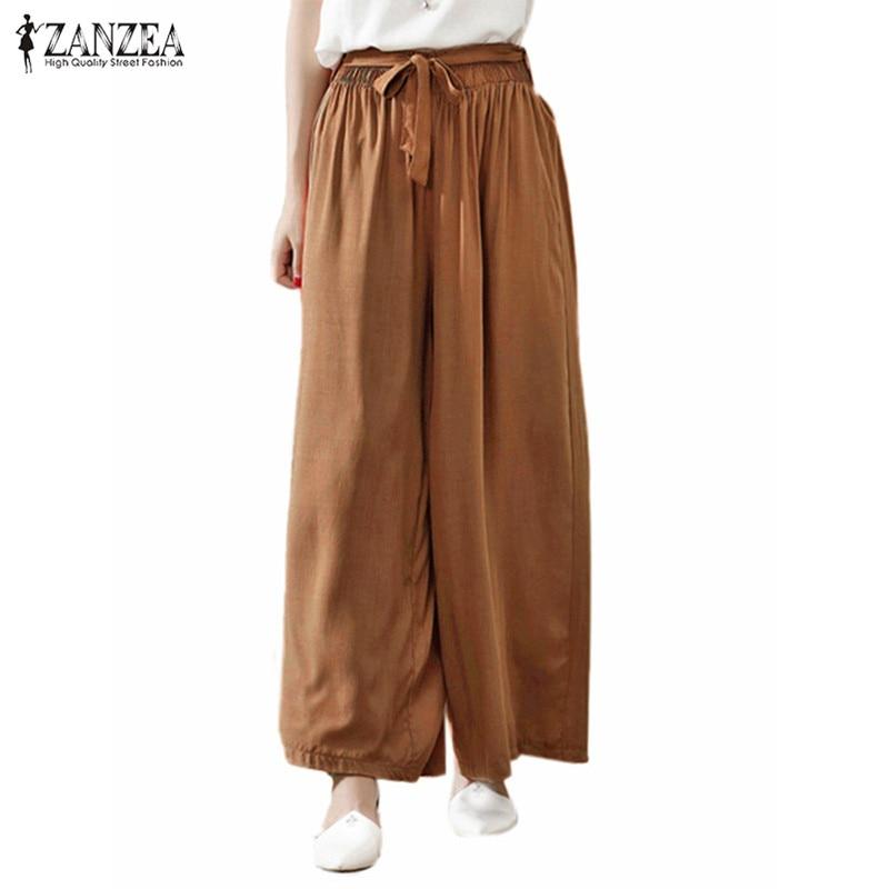 2018 Women Wide Leg Pants Casual Loose Vintage Elastic Waist Trousers Casual Cotton Oversized Solid Long Pants Plus Size 3