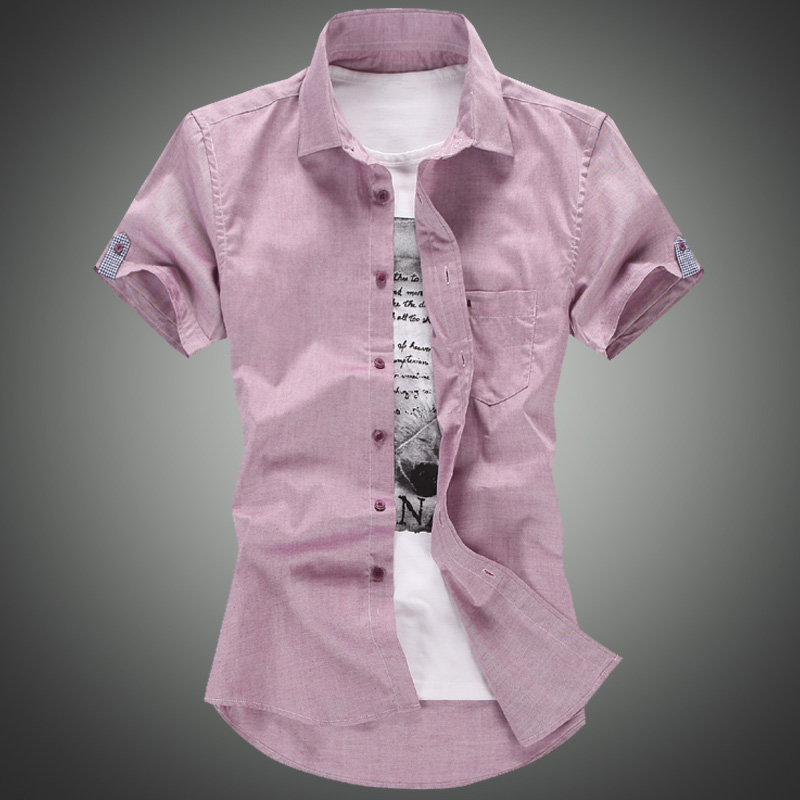 Popular Men Shirt Short Sleeve Pink-Buy Cheap Men Shirt Short ...