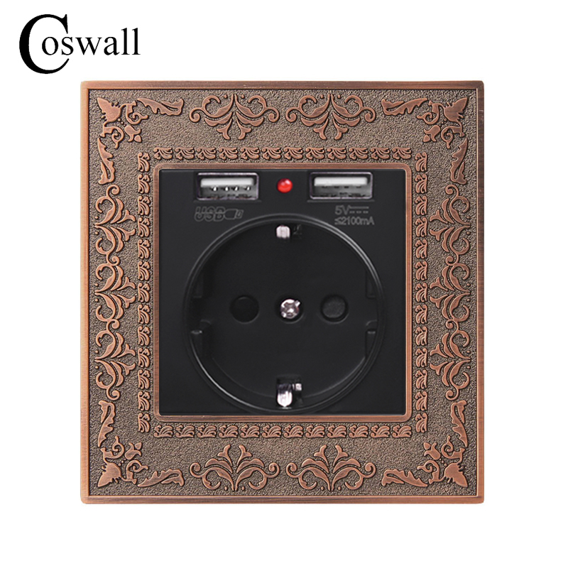 Coswall Zinc Alloy High-end Retro Panel 16A Black EU Standard Power Wall Socket With Dual USB 2.1A Charging Port Embossed PanelCoswall Zinc Alloy High-end Retro Panel 16A Black EU Standard Power Wall Socket With Dual USB 2.1A Charging Port Embossed Panel