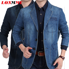LONMMY Jeans blazer men 80% Cotton Cowboy jacket Denim jacket men blazer Suits for men jaqueta Brand-clothing Fashion M-4XL цена