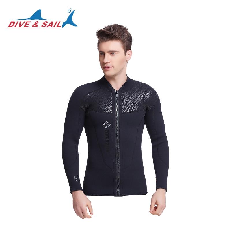 De neopreno de 3mm chaqueta traje de neopreno negro frente cremallera para los hombres traje de buceo manga larga piscina Surf, pesca submarina, traje de neopreno