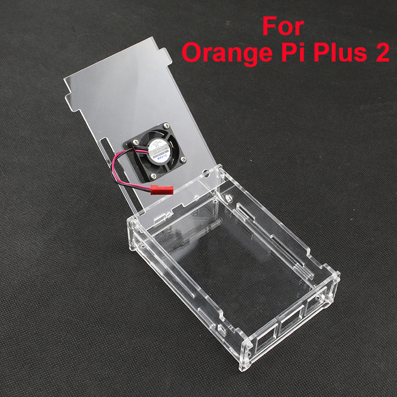 Acrylic Case For Orange Pi Plus 2 Clear Box Enclosure Cover Shell For Orange Pi Plus 2  + CPU Cooling Fan For Orange Pi Plus 2