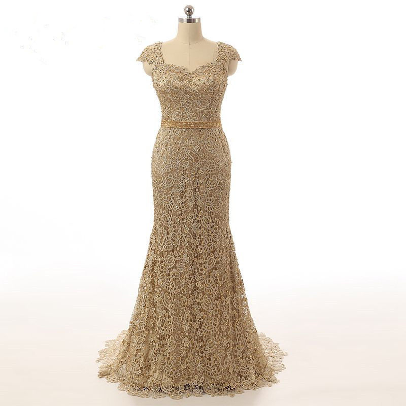 Gold Bead Mother Of The Bride Dress Formal Evening Gown For Wedding Party Custom Made