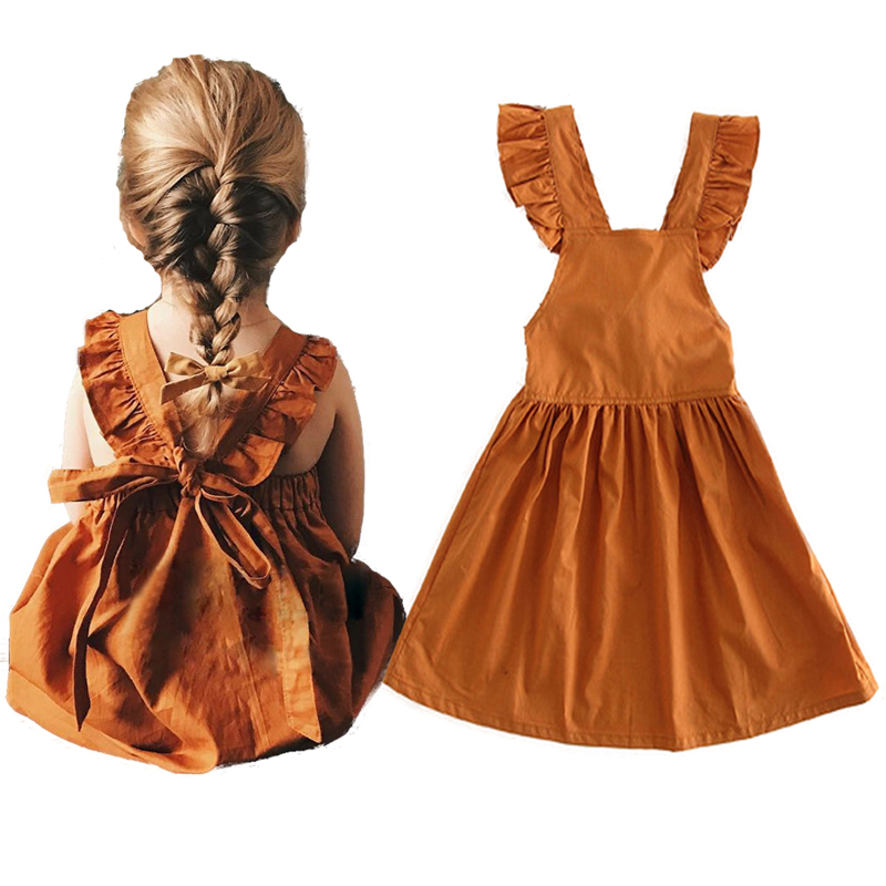 Girls Dresses Summer Backless Ruffles Cotton Children Fashion 1-4y