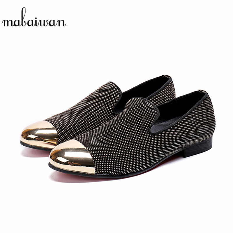 Mabaiwan Drop Shipping Men Casual Shoes Handmade Leather Slipper Loafers Rhinestones Prom Banquet Wedding Dress Shoes Men FlatsMabaiwan Drop Shipping Men Casual Shoes Handmade Leather Slipper Loafers Rhinestones Prom Banquet Wedding Dress Shoes Men Flats