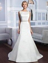 Don's Bridal Simple Elegant Mermaid Wedding Dress Floor-length Sleeveless Court Train 2016 Satin Bride Gowns