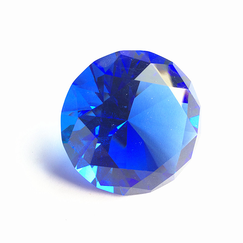 100mm Blue Paperweight Fengshui for Home Decor Birthday Wedding Hight Quality Manual Crafts Quartz Crystal Glass Diamond