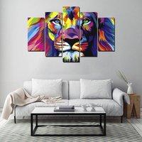 5 Sztuk Kolorowe Twarzy Król Lew Malowanie Oryginalny Obraz Olejny Zwierząt druk Na Płótnie Rozciągnięty i Oprawione Gotowy do Powieszenia na Ścianie Art