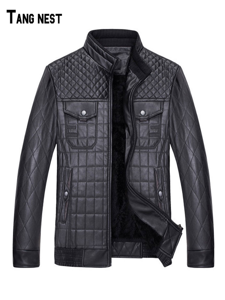 TANGNEST PU Leather Jackets for Man New Hot Sale Stand Collar Fleece Warm Jackets PU Moto Style Pockets Design PU Outwear MWP474