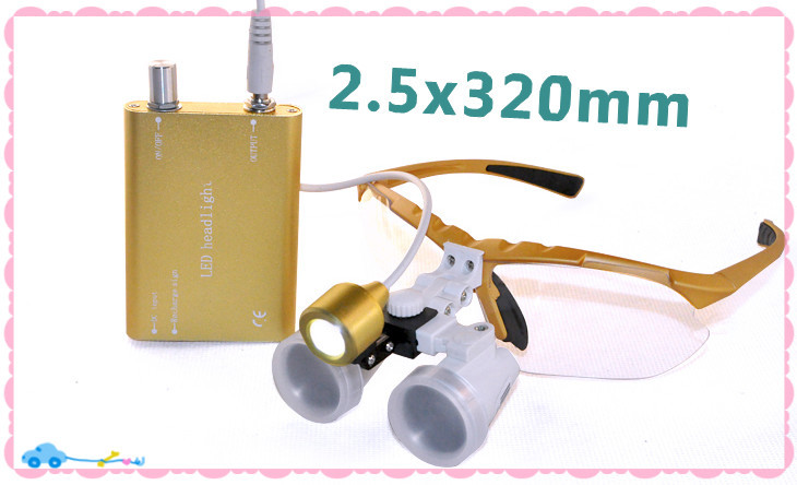 CE/FDA Approved 2.5X320mm Surgical magnifier Binocular Dental Loupe Optical Glass + Portable LED Head Light Lamp Hot Sale 5lens led light lamp loop head headband magnifier magnifying glass loupe 1 3 5x y103