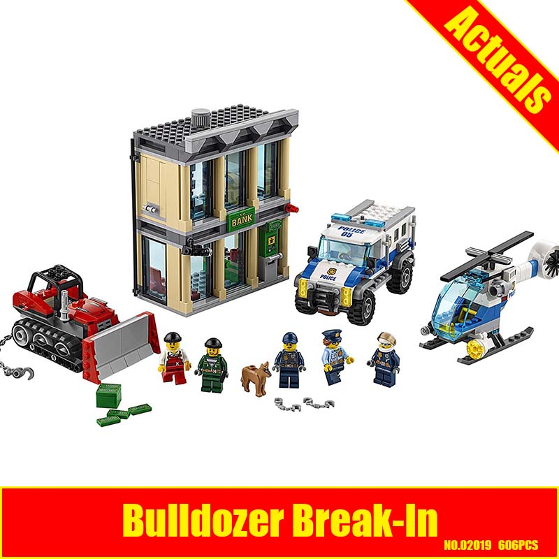 Lepin 02019 606Pcs City Series The Bulldozer Break-in set Children Educational Building Blocks Bricks Boy Toys Compatible 60140 1710 city swat series military fighter policeman building bricks compatible lepin city toys for children