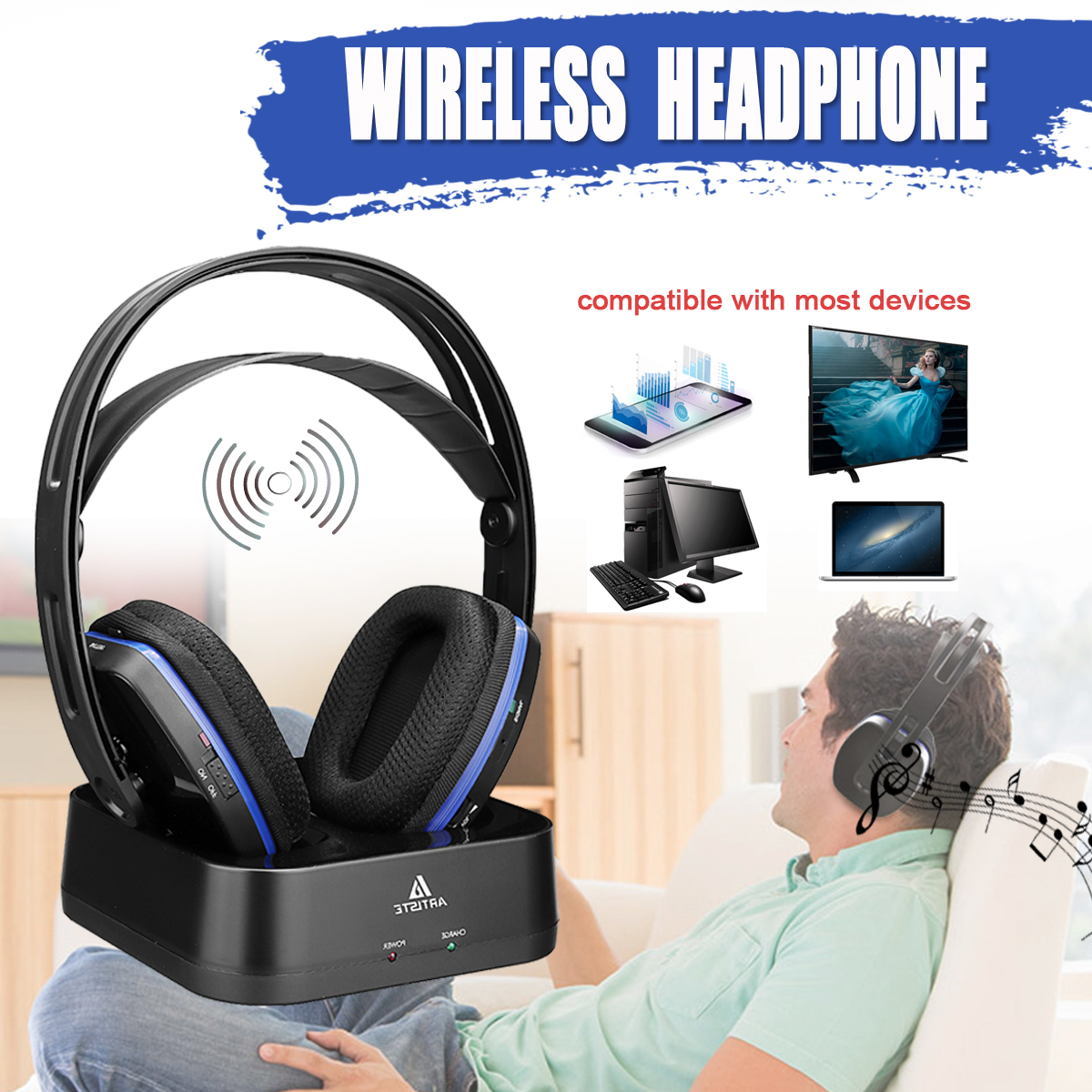 Artiste D2 2.4GHz HiFi Bluetooth Headphone Deep Bass Wireless TV Headphone with Transmitter Dock For Mobile Phone Music