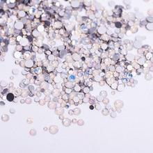 1pack Mix Sizes  Glass White Opal Crystal Non Hotfix Flatback Rhinestones Nail Rhinestoens For Nails 3D Nail Art Decoration Gems