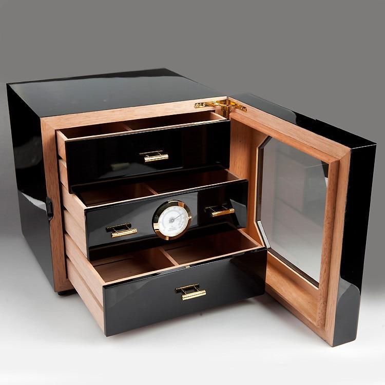 3 Drawers Cedar Wood Cigar Humidor Cabinet Black Cigar Box