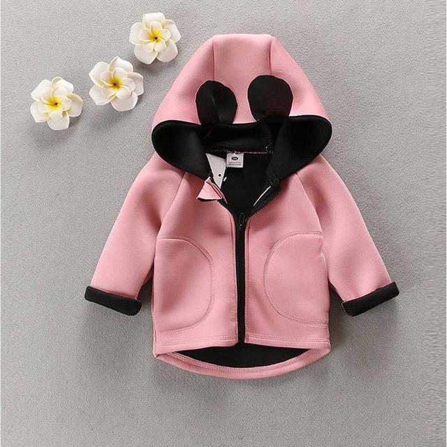 Primavera otoño 2016 de los bebés de ropa al aire libre deportes ocasionales encapuchados gatos clothing girls corea abrigos chaqueta de abrigo para el bebé