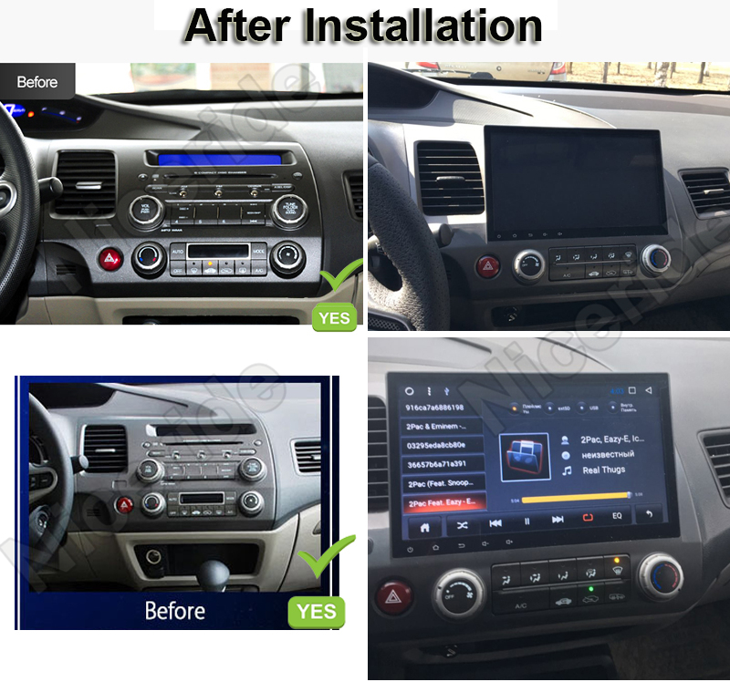 Touch Screen 10 1 2 Din Car Dvd Gps Navigation For Honda Civic 2008 2006 2017 Android Radio Stereo Pc Head Unit Multimedia Wifi In Player