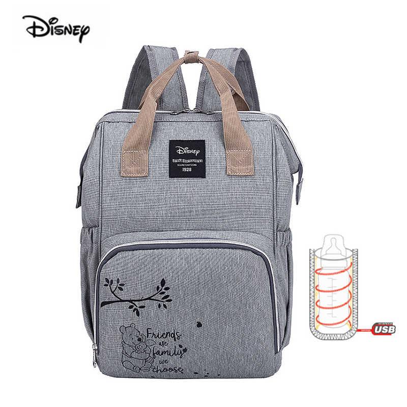 Disney 2019 nova mãe saco de fraldas mamãe saco usb garrafa de aquecimento ombro grande capacidade saco de fraldas grávidas mochila viagem