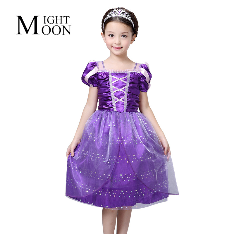 MOONIGHT Children's Dressing Up Outfits Girls Dresses for Party Rapunzel Costumes for Kids Halloween Costume