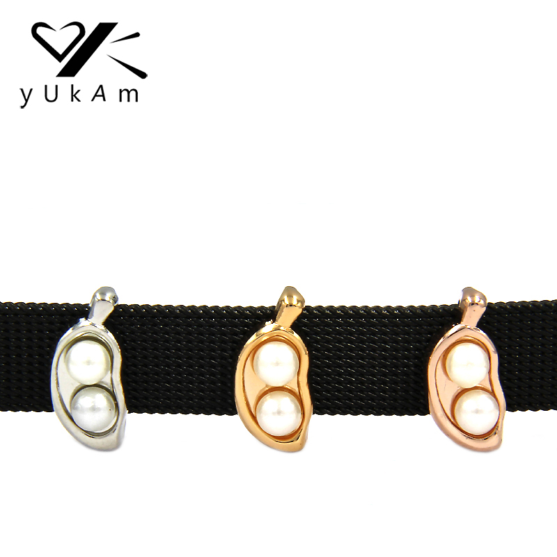 YUKAM Jewelry Fruit Charms PEAS IN A POD Slider Charms Keeper for Stainless Steel Mesh Keeper Bracelets DIY Accessories Making