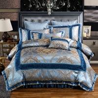 Luxury Palace Satin Silk Bedding Set 4Pcs Set Duvet Cover Bed Skirt 2 Pcs Pillow Case