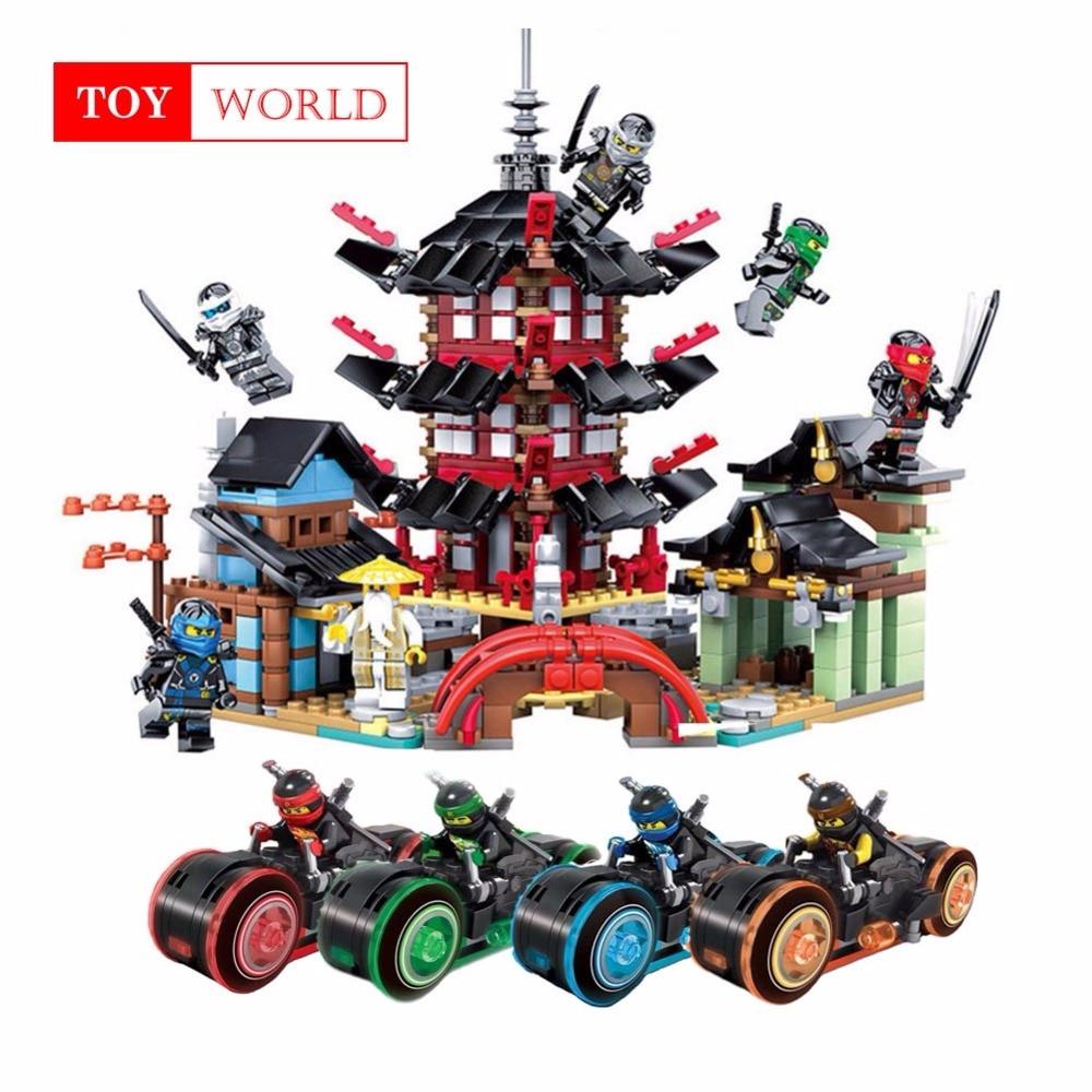 New Ninja Temple+Ninja Motorcycle DIY Building Block educational Toys for child gifts Compatible with legoing ninjagoes 20