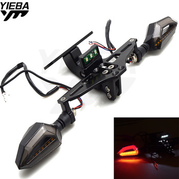 Motorcycle License Plate Bracket Licence Plate Holder LED Light FOR YAMAHA Tmax 500 Tmax530  T-MAX 500 530 YBR125 YZF R1 R3 R15