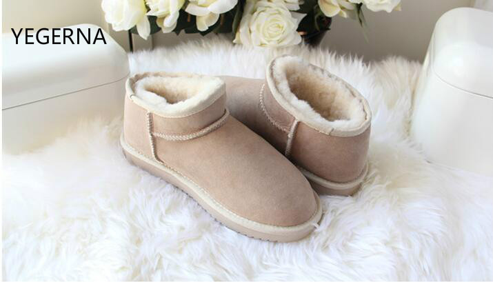YEGERNA 100% Natural Fur Winter Boots Genuine Sheepskin Leather Women Snow Boots  Warm Wool Ankle Boots Winter Shoes top quality fashion women ankle snow boots genuine sheepskin leather boots 100% natural fur wool warm winter boots women s boots