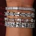 Роскошный циркон браслет, платина покрытием, классический прозрачного хрусталя мода стиль браслет, кубического Циркония для женщины и Девушки