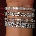 Luxurious zircon bracelet,platinum plated ,Classic clear crystal fashion style bangle, Cubic Zirconia for woman and Girl