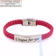 AZIZ BEKKAOUI customized logo ID bracelet Love bracelet couple bracelet adjustable genuine leather bracelets for women men kids