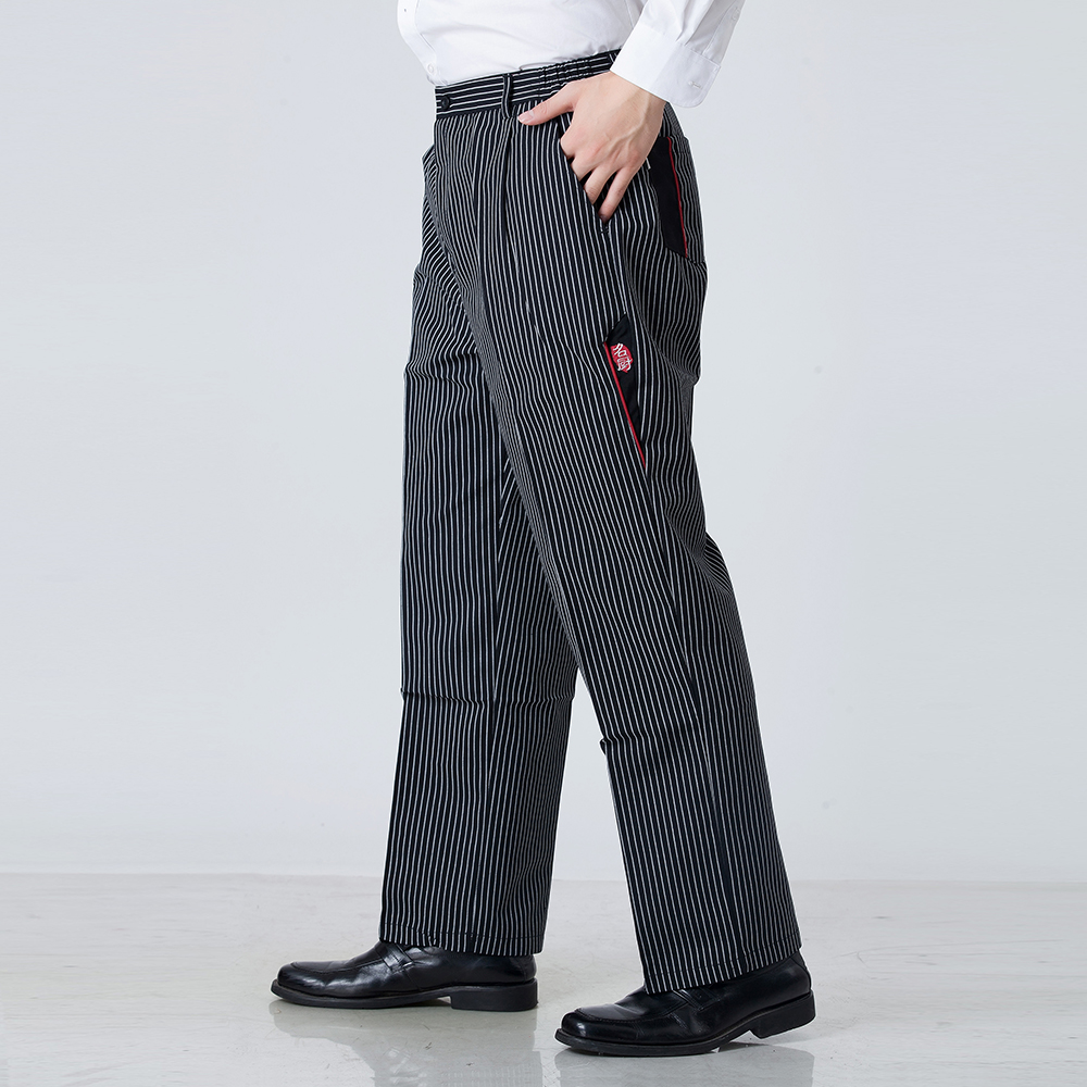 Black & Red Stripe Men Wholesale Restaurant Kitchen Food Service Bakery Coffee Shop Work Wear Pants Waiter Cooker Pants Trousers
