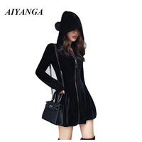 2018 Sexy Black Velvet Hooded Dress Women Zip Up Party Ladies Extra Short Casual Autumn Winter Dresses Long Sleeve Vestido Femme