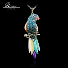 Long Jewelry Sweater Necklace 2018 New Bird pendant Exquisite Colourful Parrot Pendants Necklaces Fashion Necklaces For Woman