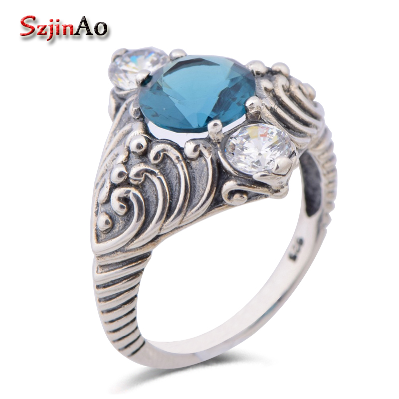 Szjinao Luxury Brand Women Solid 925 Sterling Silver Ring Kate Princess Dianas Wedding Jewelry Aquamarine Engagement Ring