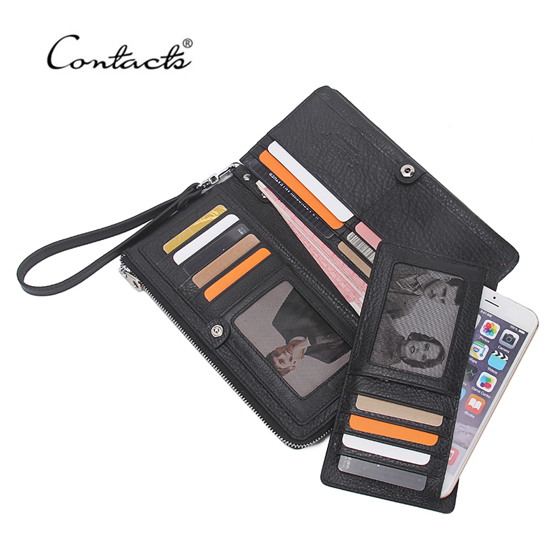 ФОТО CONTACT'S Famous Brand Genuine Leather Men Wallets Credit Card Holder Purse Coin Pocket Zipper Long Clutch High Quality 2017 New