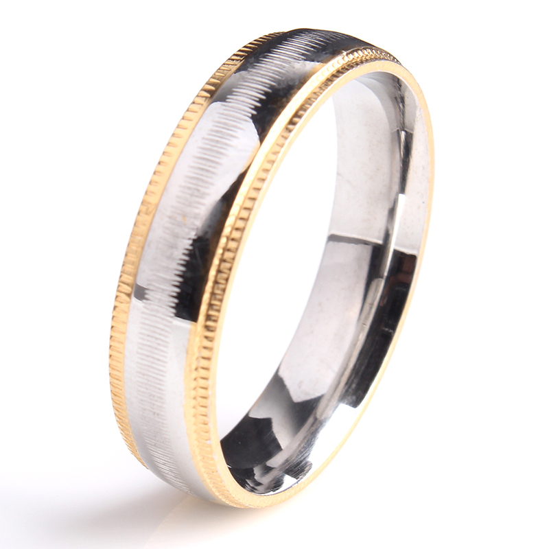 6mm Gold Gear Cross Stripe 316l Stainless Steel Wedding Rings For Men Women Whole China