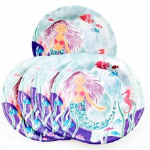 6pc/set 7inch Mermaid Luxury Kids Birthday Party Decoration Ariel Theme Supplies Baby Disposable plates
