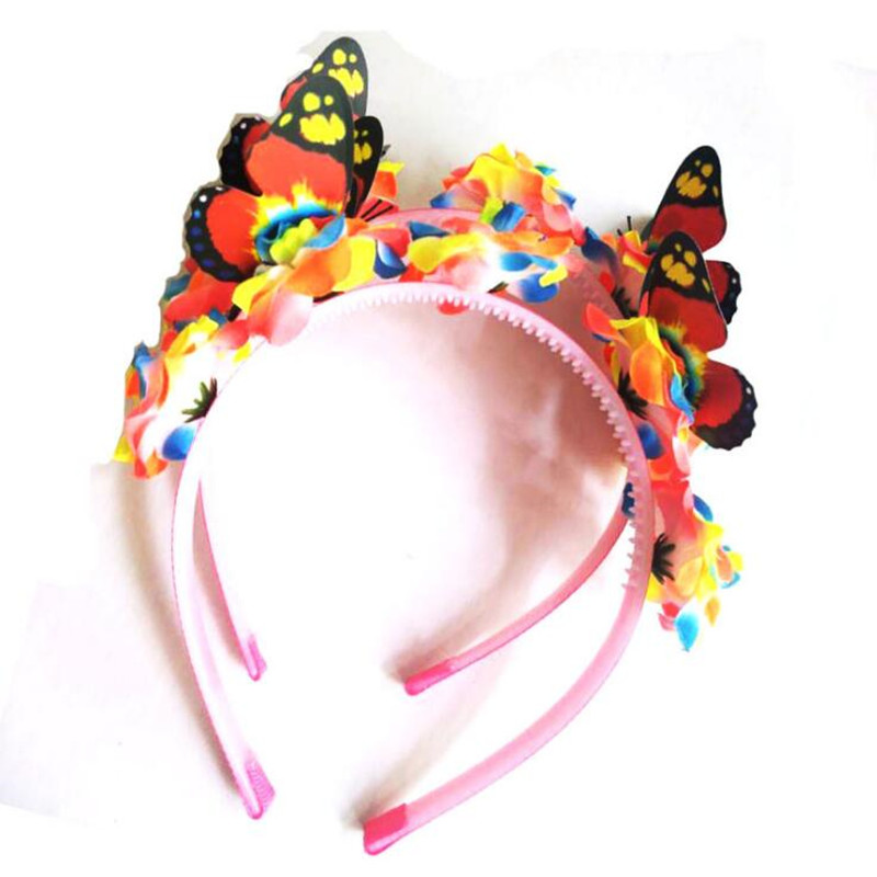 Colorful Artificial Flower Butterfly Headband Women Girls Floral Hairband Hair Accessories Party Favors Headwear