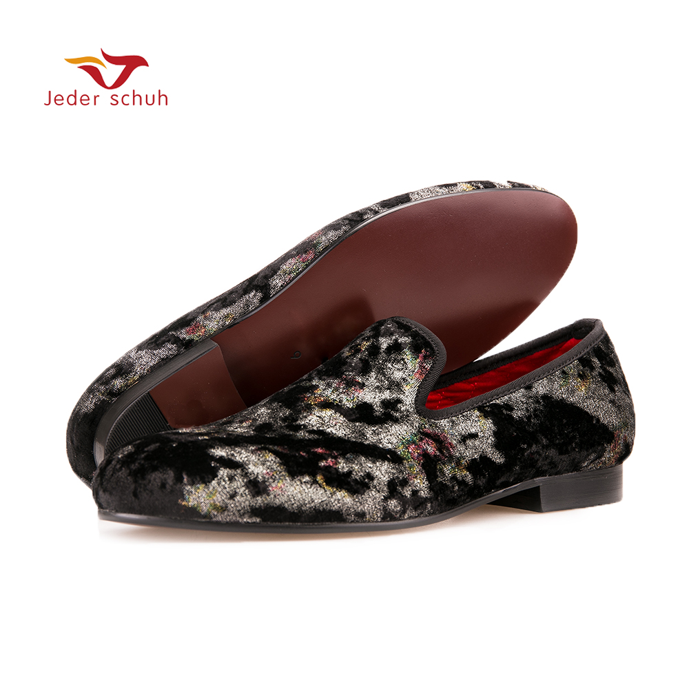 Jeder Schuh Men's flannel loafers color pattern collocation Casual shoes low-key banquet and wedding shoes