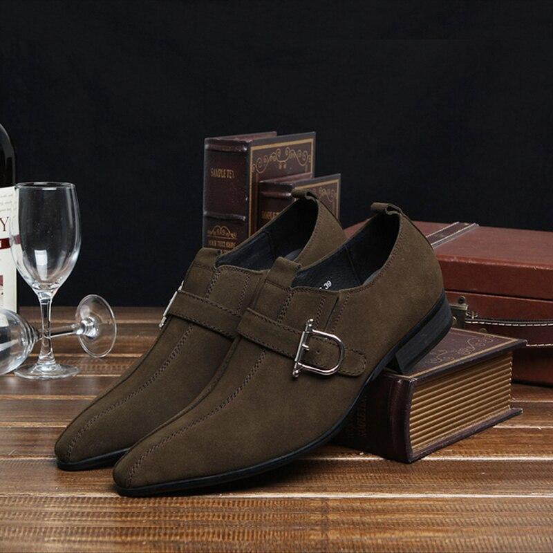 PJCMG/Модная Мужская обувь; замшевая обувь из натуральной кожи с пряжкой на ремешке с острым носком; цвет черный, Brwon; мужская повседневная Свадебная деловая обувь - 6