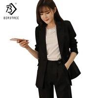 OL Style 2018 Autumn Spring Female Blazer PantsSuits Women Black White Double Breasted Set Office Ladies