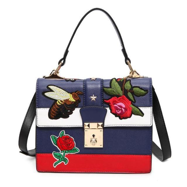 2016 Otoño de La Vendimia Nacional Bordado Bolsa de Hombro de Las Mujeres Floral/Abeja Bordados Bolsos de Las Señoras Pequeño Candado Crossbody Bag Sac