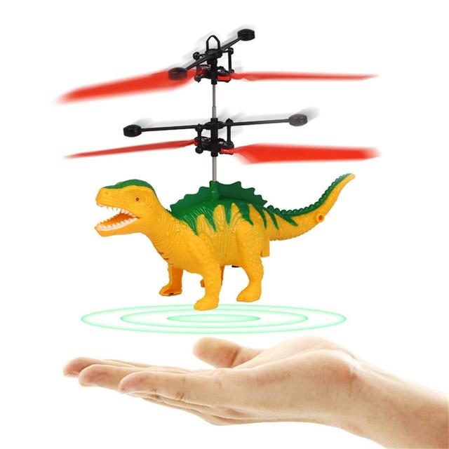 Brinquedos elétricos Para Crianças de Dinossauros De Plástico Figura Brinquedos Modelo Dinossauro Juguete LED Indução Suspensão RC Aircraft K417